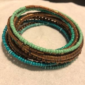 Turquoise & bronze connected bangles